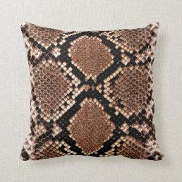 Rattlesnake Snake Skin Leather Faux Throw Pillow