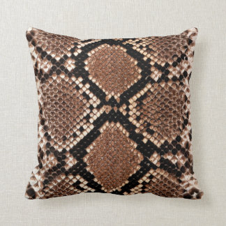 Rattlesnake Snake Skin Leather Faux Throw Pillow