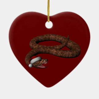Rattlesnake With Santa Hat Double-Sided Heart Ceramic Christmas Ornament