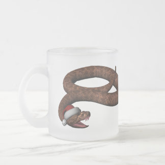 Rattlesnake With Santa Hat Frosted Glass Coffee Mug