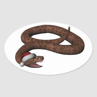 Rattlesnake With Santa Hat Oval Sticker