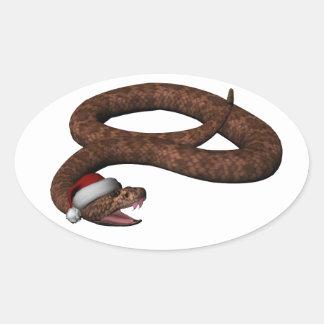 Rattlesnake With Santa Hat Oval Sticker