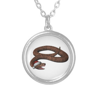 Rattlesnake With Santa Hat Silver Plated Necklace