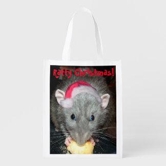 Ratty Christmas reusable grocery bag