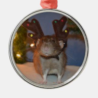 Ratty Reindeer Round Metal Christmas Ornament