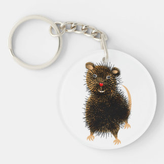 Ratty The Cute Funny Whimsical Pet Rat Keychain