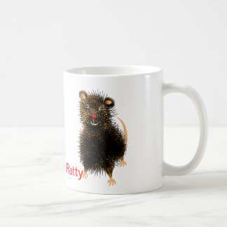 Ratty The Cute Funny  Whimsical Rat Mugs
