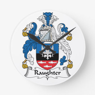 Raughter Family Crest Round Clock