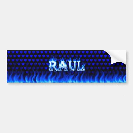 Raul blue fire and flames bumper sticker design car bumper sticker