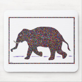 Rav Stained Glass Running Elephant Mouse Pad