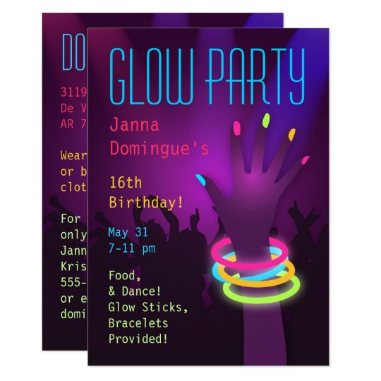 Rave Glow In The Dark Party Invitations Zazzle Com