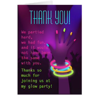 Rave Glow Party Thank You Card