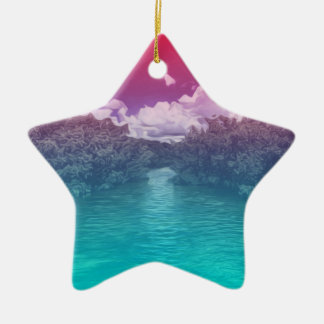 Rave Lovers Key Trippy Pink Blue Ocean Ceramic Ornament