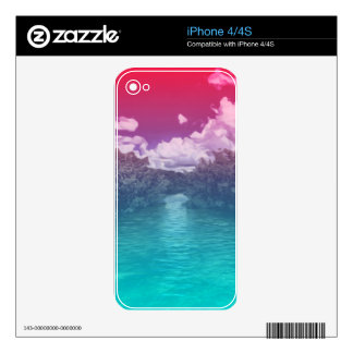 Rave Lovers Key Trippy Pink Blue Ocean Decal For iPhone 4S