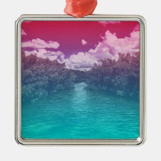 Rave Lovers Key Trippy Pink Blue Ocean Metal Ornament