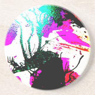 Rave neon party abstract coaster
