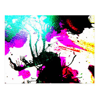 Rave neon party abstract postcard