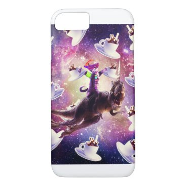 Rave Space Cat On Dinosaur Unicorn With Coffee iPhone 8/7 Case