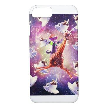 Rave Space Cat On Giraffe Unicorn - Coffee iPhone 8/7 Case