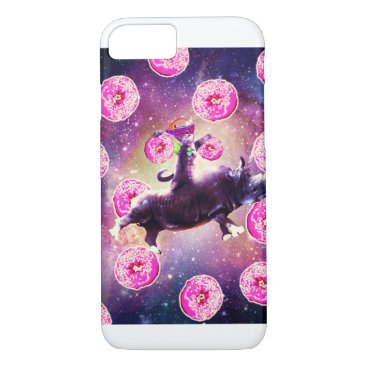 Rave Space Cat On Rhino Unicorn - Donut iPhone 8/7 Case