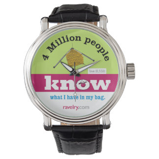 Ravelry 4 million watch, PINK, knitting Wristwatch