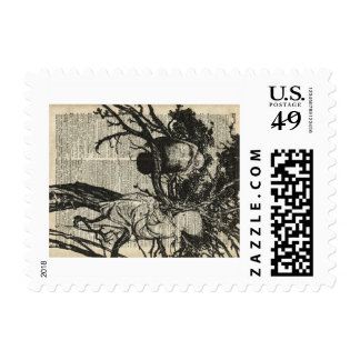 Raven and Child on a Tree Old Vintage Illustration Stamp