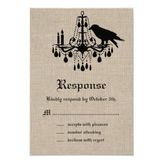 Raven and Damask on Burlap RSVP 3.5x5 Paper Invitation Card
