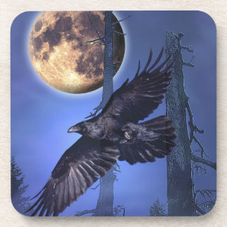 Raven and Moon Fantasy Art Coasters