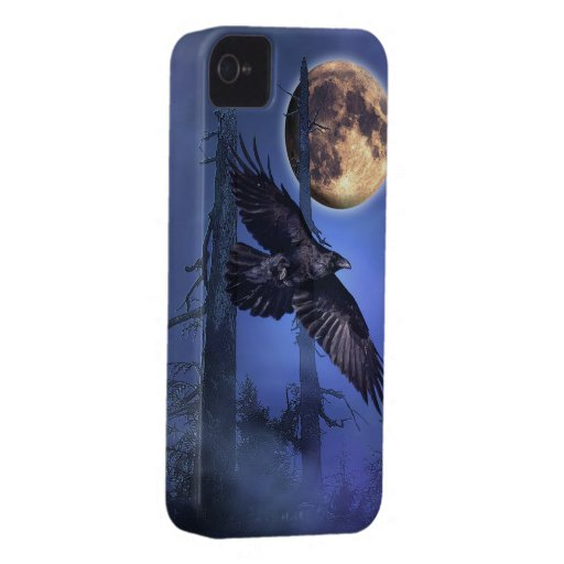 Raven and Moon Fantasy Wildlife iPhone Case iPhone 4 Case
