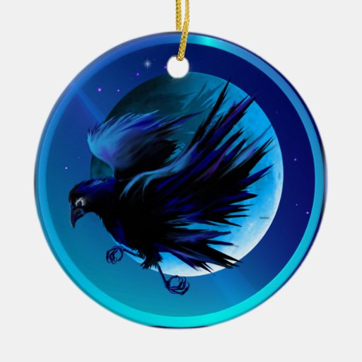 Raven and Moon  Ornaments