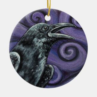 Raven and Purple Swirls Ornament