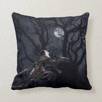 Raven and Rat Skeleton in Moonlight Throw Pillow