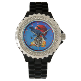 Raven and Red Moon Wristwatch