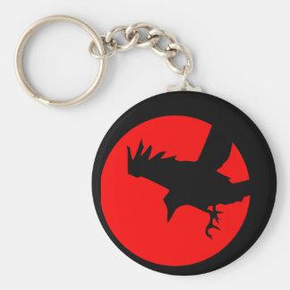 Raven and red sun basic round button keychain