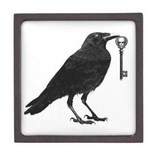Raven and Skeleton Key Wood Box Premium Trinket Box