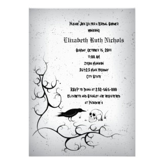 Raven and skull Gothic wedding bridal shower Personalized Invitation