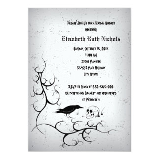 Raven and skull Gothic wedding bridal shower Invitation