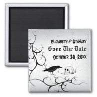 Raven and skull Gothic wedding Save the Date Refrigerator Magnets