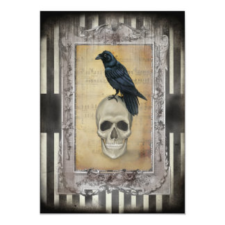 Raven and Skull Halloween Card
