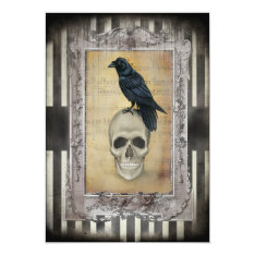 Raven And Skull Halloween Card at Zazzle
