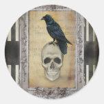 Raven and Skull halloween Classic Round Sticker