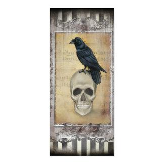 Raven and Skull Halloween Menu 4x9.25 Paper Invitation Card