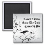 Raven and skull Halloween wedding Save the Date 2 Inch Square Magnet