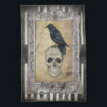 """Raven and Skull Hand Towel<br><div class=""""desc"""">A dark gothic halloween image featuring a beautiful raven,   placed  in a vintage frame on a back ground of black and white stripes dressed with a grunge texture. &#169; WickedlyLovely</div>"""