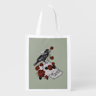 Raven and Skull Red Roses Gothic Tote Bag.