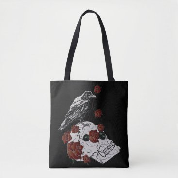 Halloween Themed Raven and Skull Red Roses Shopping Bag