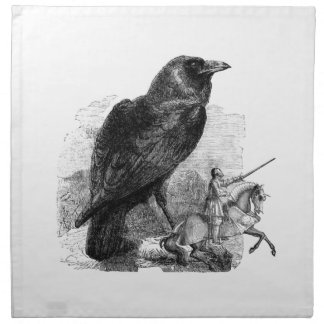 Raven and The Knight Cloth Napkin
