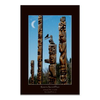 Raven and Totem Poles Art Poster
