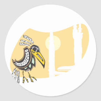 Raven and Totems Classic Round Sticker