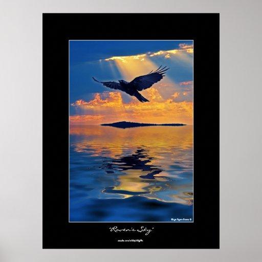 Raven at Sunset Wildlife Fantasy Art Poster